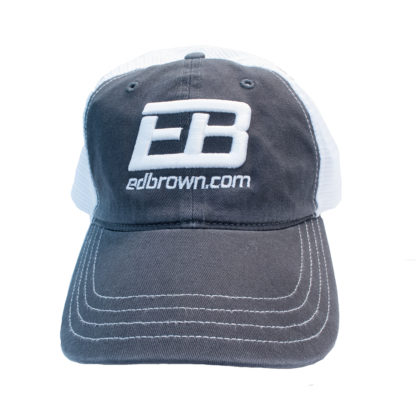 charcoal grey and white Ed Brown logo hat